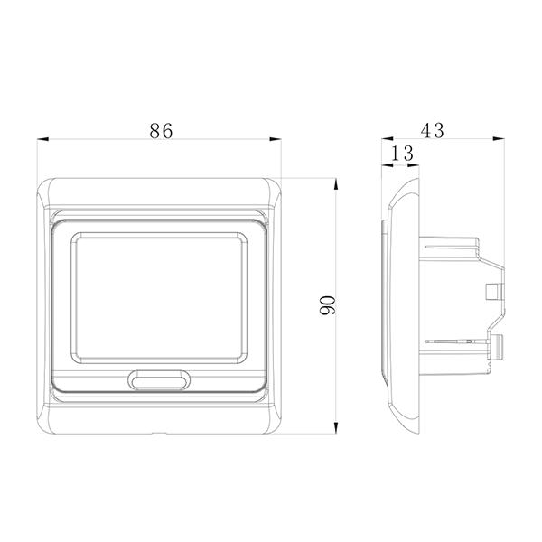 Warmer E91 M9 termosztát méretei (mm)